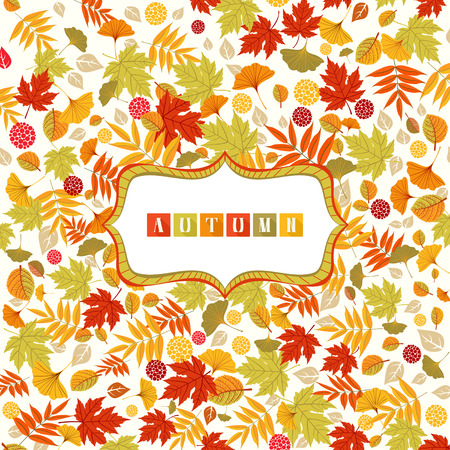 veiny: Background with Autumn leaves pattern and banner