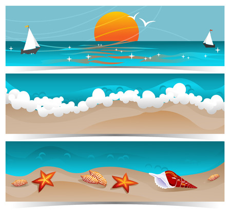 beach sunset: Traveling summer banners  Set of three summer traveling themed banners with beach, sunset and ocean.