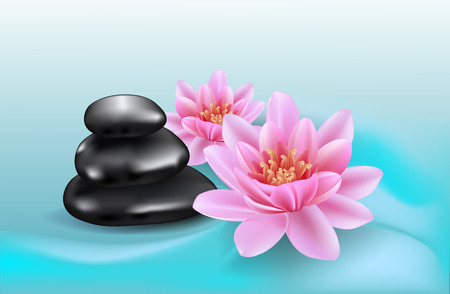 Spa background with lotus flowers and black stones. Realistic lilies and stones. Abstract wavy background.