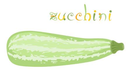 vegetable cartoon: Calabac�n. Ilustraci�n de verduras frescas. Calabaza de dibujos animados. El arte del clip con el t�tulo. Aislado en blanco.