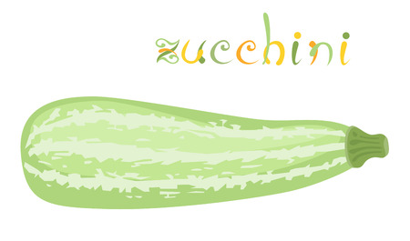 grocer: Zucchini. Illustration of fresh vegetable. Cartoon squash. Clip art with title. Isolated on white.