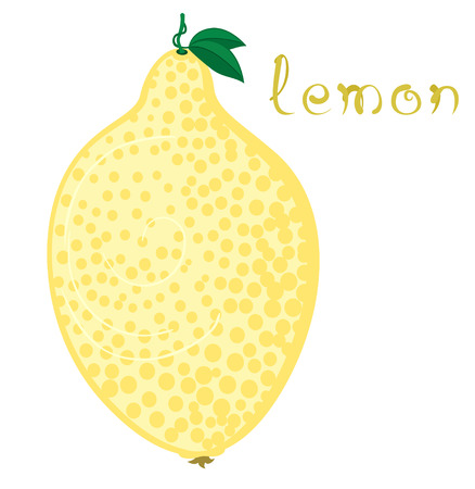 zest: Lemon. Illustration of ripe lemon with funny small leaves. Cartoon fruit. Clip art with cute title text. Isolated on white background. Illustration