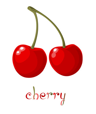 cherry branch: Red Cherry. Illustration of brunch fresh ripe cherry. A couple of red berries. Clip art with title. Isolated on white.