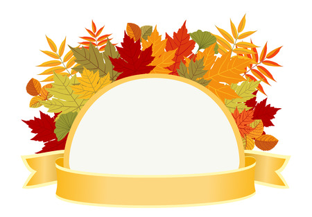 Abstract autumn half round frame with colorful leaves. Illustration
