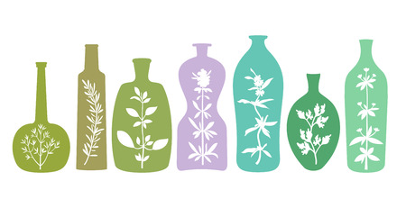 Aromatic Herbs in Colorful Bottles
