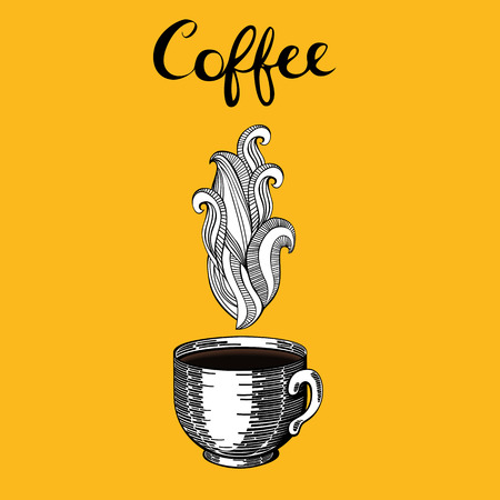 Vintage coffee cup with steam Illustration