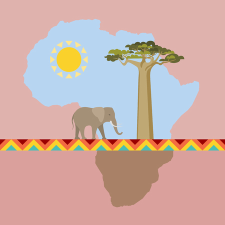 African Nature scene with continent
