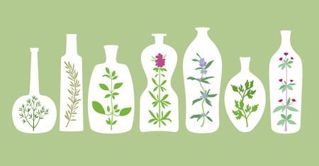 Aromatic plants and bottles silhouettes