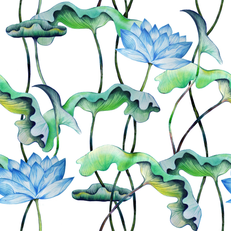 Vintage seamless pattern with blue lotuses. Watercolor painting of water lily with green leaves.