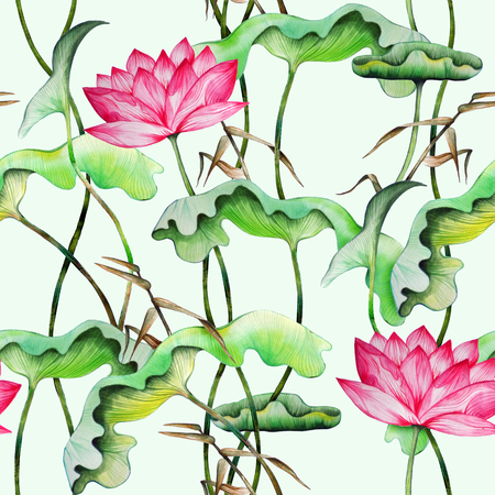Seamless pattern with lotuses. Watercolor painting of water lily and bamboo leaves.