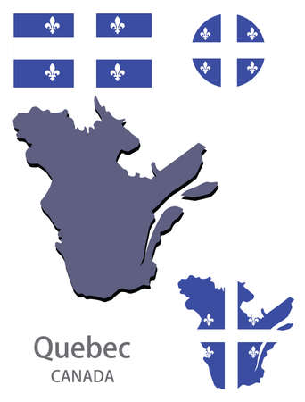 flag and silhouette of the canadian province of Quebec vector illustration