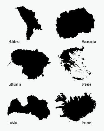 set silhouettes of Europe countries vector illustration Векторная Иллюстрация