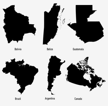 set silhouettes of America countries vector illustration