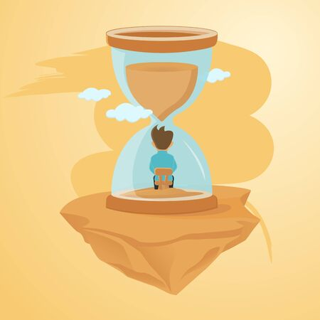 Lost Time. Time management. Man in an hourglass