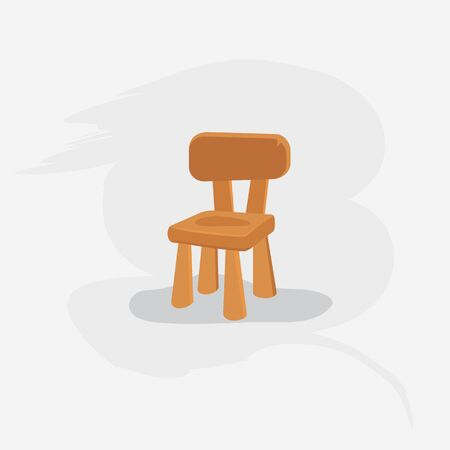 Brown chair in vector on grey background Ilustração