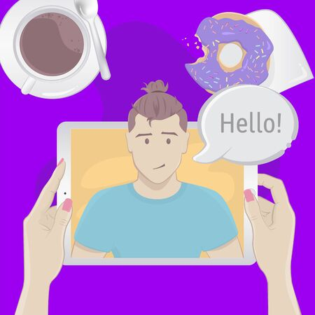 Video chat with a man. Breakfast top view concept Stock Illustratie