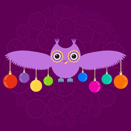 owl illustration: Winter owl illustration Stock Photo