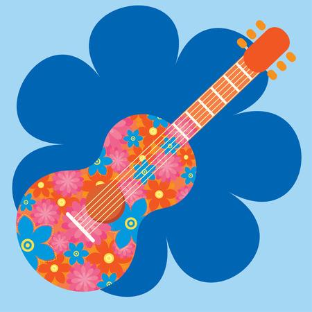 sixties: Flower guitar illustration