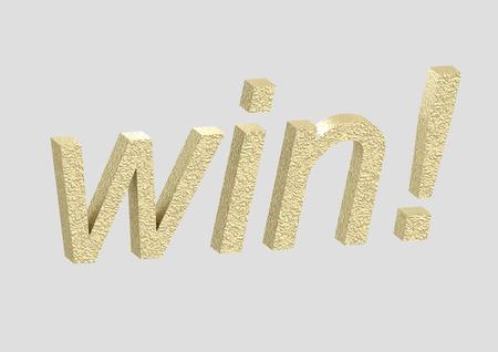 Isolated 3D Win in Golden letter