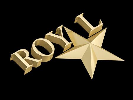 Golden Royal star on black background 写真素材