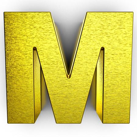 Golden 3d alphabet letter M on white background 写真素材