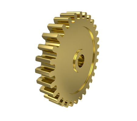 Golden gear 3d isolated on white background