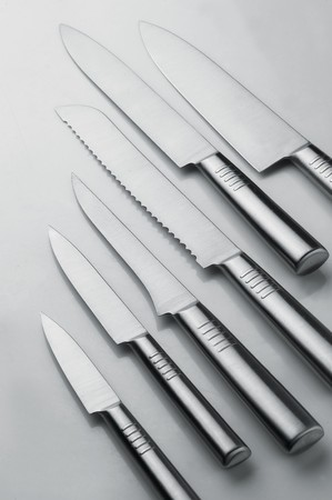 White background them a variety of styles Chef knife