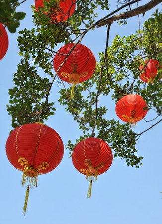 Chinese red lantern with colourful decoration Stock Photo - 4291642