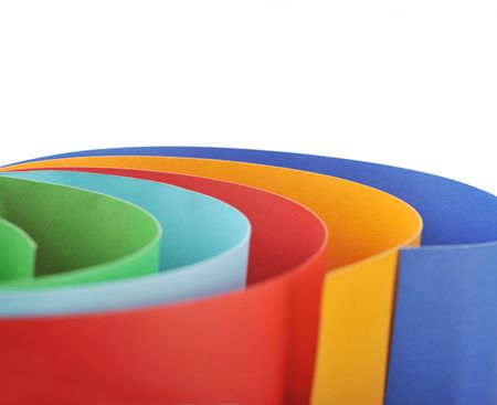 rolled paper: Colored rolled paper in white background