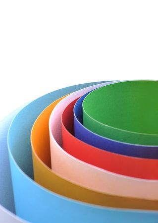 Colored rolled paper in white background