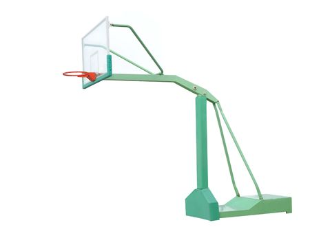 the height of a rim: Playground basketball backboard and hoop isolated Stock Photo