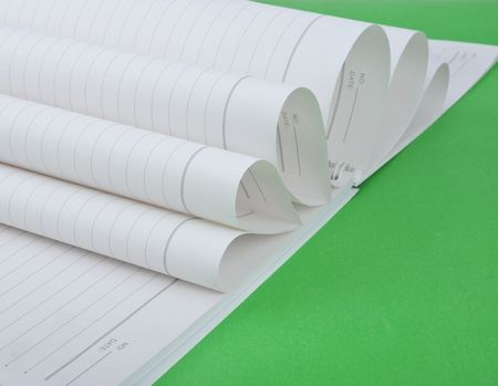 neat: Notebook in green background