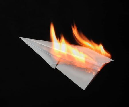 Combustion paper airplane photo
