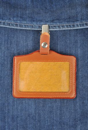 surname: Blank name Leather badge