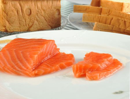 fresh food fish cake: Extreme close-up of few pieces of raw salmon meat Stock Photo