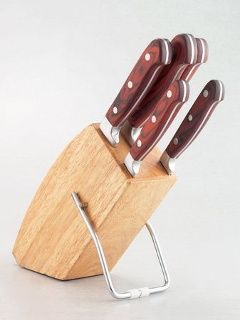 Knife set in a white background