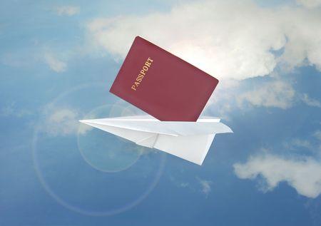 papierflugzeug: Blue Papier Flugzeug Flug-und Pass -