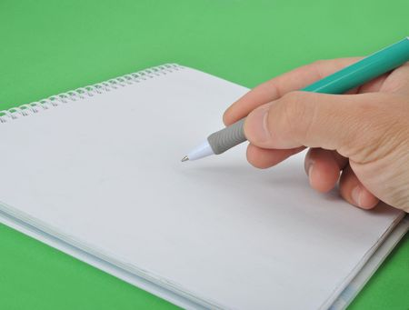 take down notice: Hand writing in notebook