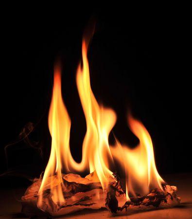 Nice warm fire on black photo