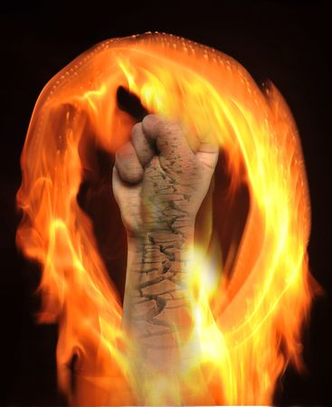 Chapped hands in the fire photo