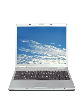 minicomputer: High quality render of gray high-end laptop computer with sky background