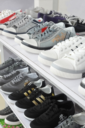 Losts of shoes on sale.