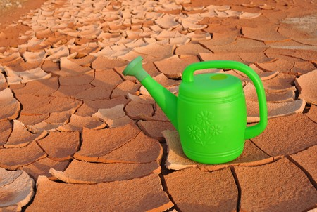plastic watering can in arid land