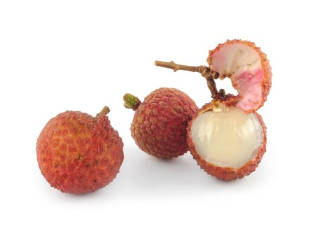 litchee: Close-up litchi chinensis fruit Stock Photo