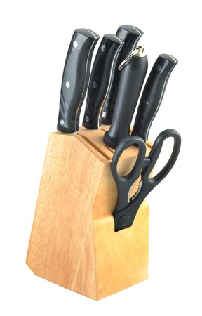 Set of kitchen knives isolated in white background