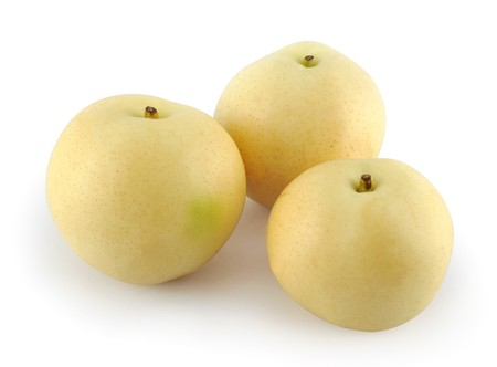Three pears isolated white background