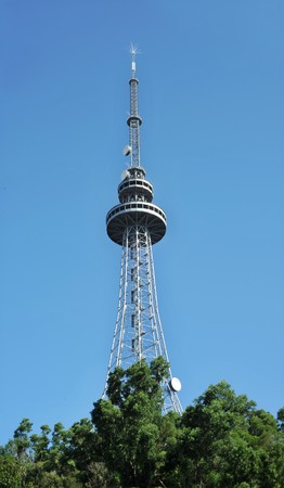 Television tower in blue sky background