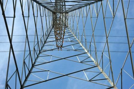 struts: Upwards View of Electricity Pylon
