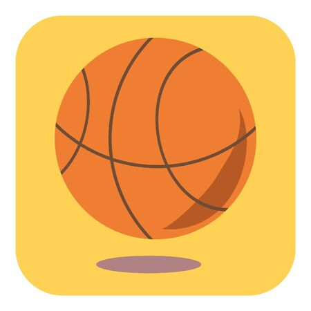 Flat design icon orange basketball on a yellow background in square