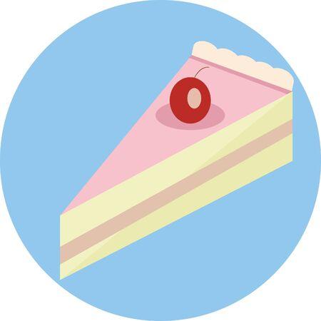 Tasty cake slice with cherry.